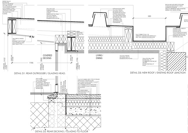 building warrant drawings for modern house extension in