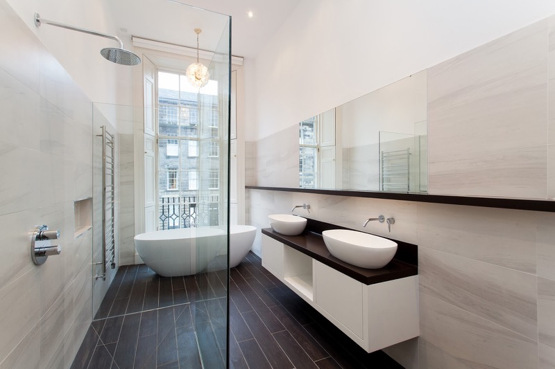 Contemporary Luxury Bathroom Edinburgh New Town Architecture With - Building a new bathroom
